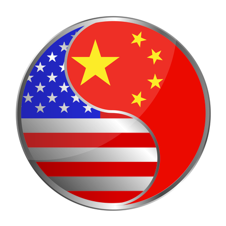 US and china working together illustration design over white